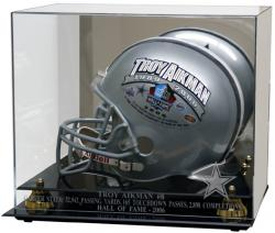 Dallas Cowboys Troy Aikman Hall of Fame Helmet Display Case - Mounted Memories