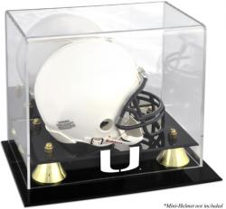 Miami Hurricanes Golden Classic Logo Mini Helmet Display Case