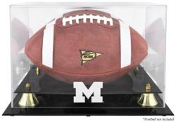 Michigan Wolverines Golden Classic Logo Football Display Case with Mirror Back - Mounted Memories