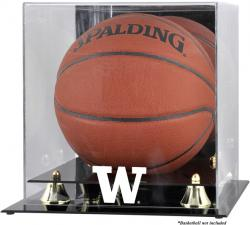 Washington Huskies Golden Classic Logo Basketball Display Case with Mirror Back - Mounted Memories