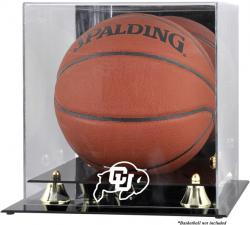 Colorado Buffaloes Golden Classic Logo Basketball Display Case with Mirror Back - Mounted Memories