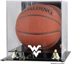 West Virginia Mountaineers Golden Classic Logo Basketball Display Case with Mirror Back - Mounted Memories