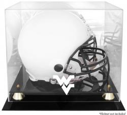 West Virginia Mountaineers Golden Classic Logo Helmet Display Case with Mirrored Back