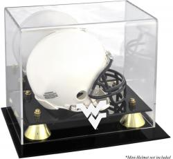 West Virginia Mountaineers Golden Classic Logo Mini Helmet Display Case