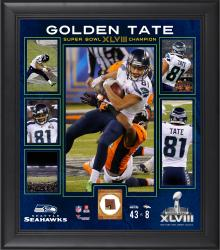 Golden Tate Seattle Seahawks Super Bowl XLVIII Champions Framed 15'' x 17'' Collage with Game-Used Ball - Mounted Memories