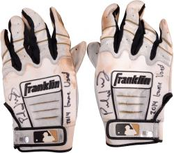 Paul Goldschmidt Arizona Diamondbacks Autographed Game-Used White & Black Batting Gloves with 2014 Game-Used Inscription
