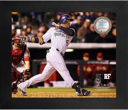 Carlos Gonzalez Colorado Rockies Framed 20'' x 24'' Gamebreaker Photograph with Game-Used Ball - Mounted Memories