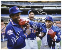 Dwight Gooden, Darryl Strawberry & Mike Tyson New York Mets Autographed 16'' x 20'' Photograph - Mounted Memories