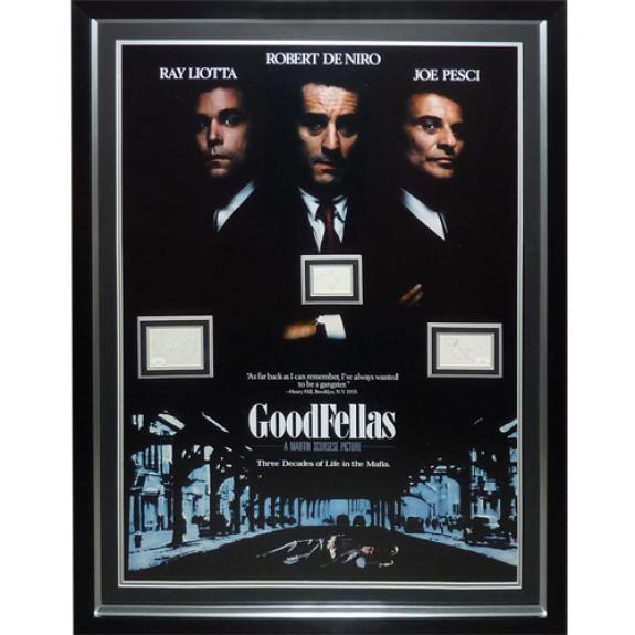 Goodfellas Full-Size Movie Poster Deluxe Framed with Robert Deniro , Ray Liotta And Joe Pesci Autographs – JSA