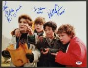 """GOONIES Cast (3) Signed 11x14 Photo w/ Character Names """"Love"""" ~ PSA/DNA LOA"""