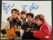 """GOONIES Cast (3) Signed 11x14 Photo w/ Character Names """"Peace"""" ~ PSA/DNA LOA"""