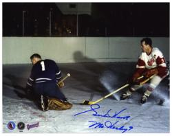 "Detroit Red Wings Gordie Howe Autographed 8"" x 10"" Action vs. Goalie Photograph with Mr. Hockey Inscription"