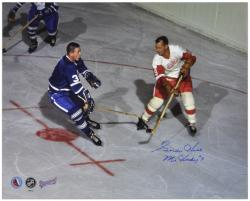 """Gordie Howe Detroit Red Wings Autographed 16"""" x 20"""" vs. Johnny B. Photograph with Mr. Hockey Inscription"""