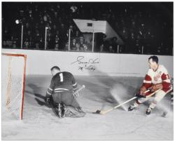 """Gordie Howe Detroit Red Wings Autographed 16"""" x 20"""" vs. Goalie Photograph with Mr. Hockey Inscription"""