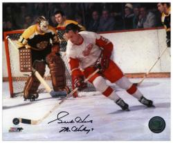 "Gordie Howe Detroit Red Wings Autographed 8'' x 10"" vs. Boston Bruins Photograph with Mr. Hockey Inscription - Mounted Memories"
