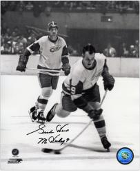 """Detroit Red Wings Gordie Howe Autographed 8"""" x 10"""" B&W Vertical Shooting Puck Photograph with Mr. Hockey Inscription"""