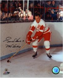 """Gordie Howe Detroit Red Wings Autographed 8"""" x 10"""" Stick on Puck Photograph with Mr. Hockey Inscription"""