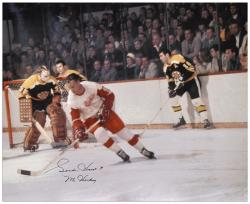 """Gordie Howe Detroit Red Wings Autographed 16"""" x 20"""" vs. Boston Bruins Photograph with Mr. Hockey Inscription"""