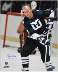 "Gordie Howe Hartford Whalers Autographed 16"" x 20"" Shooting Photograph with Mr. Hockey Inscription"