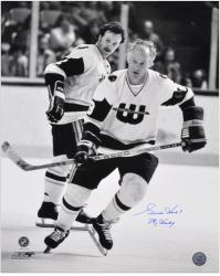 """Gordie Howe Hartford Whalers Autographed 16"""" x 20"""" B& W Photograph with Mr. Hockey Inscription"""