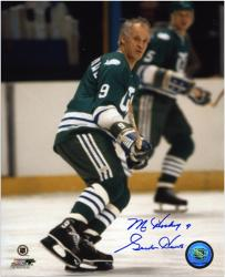 """Gordie Howe Hartford Whalers Autographed 8"""" x 10"""" Wait For Puck Photograph with Mr. Hockey Inscription"""