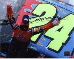 Jeff Gordon Autographed 8'' x 10'' Car Shot Photograph - Mounted Memories