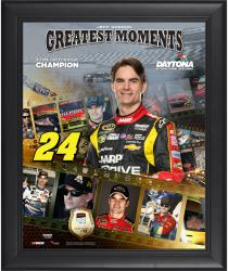 Jeff Gordon Framed 16'' x 20'' Film Strip Composite with Piece of Daytona Sign-Limited Edition of 500 - Mounted Memories