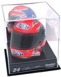 Jeff Gordon NASCAR Mini Helmet Display Case with Engraved Logos - Mounted Memories