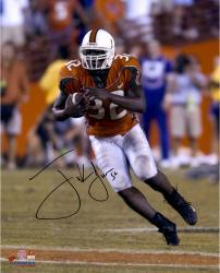 "Frank Gore Miami Hurricanes Autographed 16"" x 20"" Orange Jersey Photograph"
