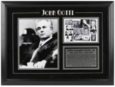 John Gotti Framed Photograph with Mug Shot & Plate