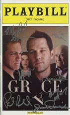Grace Hand Signed Nyc Playbill+coa       Signed By Cast And Paul Rudd+ed Asner