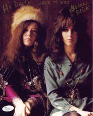 GRACE SLICK HAND SIGNED 8x10 COLOR PHOTO    WITH JANIS JOPLIN    TO DAVID    JSA