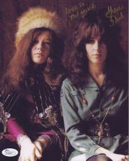 GRACE SLICK HAND SIGNED 8x10 COLOR PHOTO    WITH JANIS JOPLIN    TO MIKE    JSA