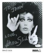 GRACE SLICK HAND SIGNED 8x10 PHOTO      JEFFERSON STARSHIP   TO JOHN   JSA COA