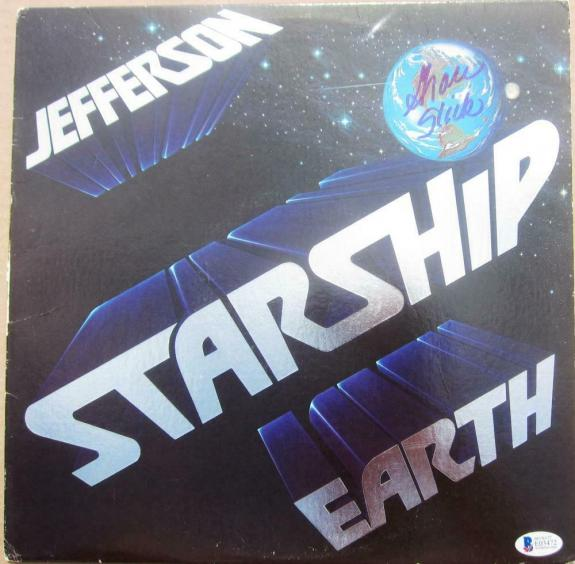 Grace Slick signed Jefferson Starship LP Album Cover Earth Beckett BAS Authentic