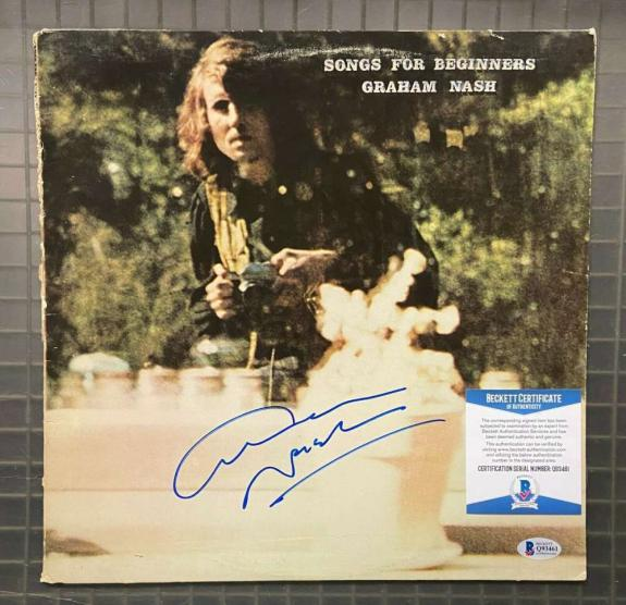 Graham Nash BAS Beckett Coa Signed Record Album Songs For Beginners Autograph