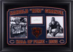 "Red Grange Chicago Bears Deluxe Horizontal Framed Collectible with 2.5"" x 3.5"" Autographed Cut"