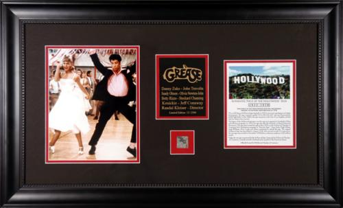 GREASE (TRAVOLTA/NEWTON-JOHN) FRAMED PHOTO w/HLYWD SIGN