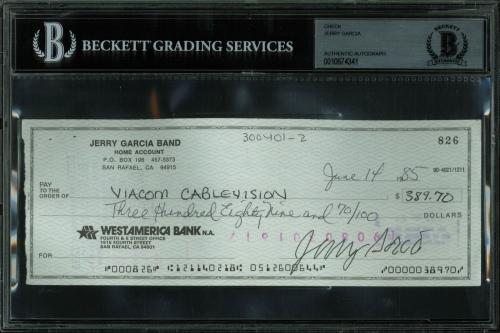 Greatful Dead Jerry Garcia Signed 3x8 Check Dated June 14, 1985 BAS Slabbed