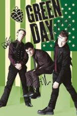 Green Day Autographed Facsimile Signed Green American Flag Poster