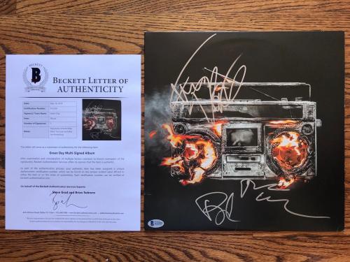 Green Day (3) Band Signed Revolution Radio Vinyl Record Beckett Bas Loa #a12539
