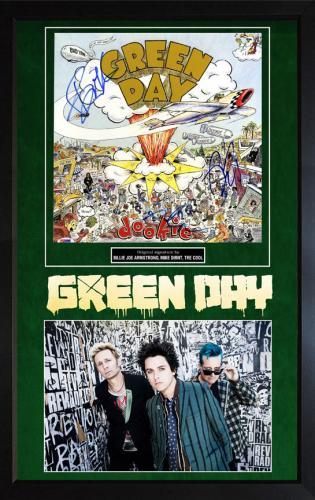 Green Day Signed Dookie LP Album Framed Custom Display PSA/DNA AFTAL