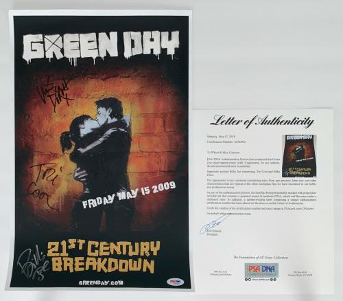 Green Day X3 Billie Joe Mike & Tre Signed 21st Century Breakdown Poster Psa