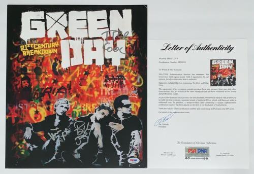 Green Day X3 Billie Joe Mike & Tre Signed 21st Century Breakdown Poster Psa Loa