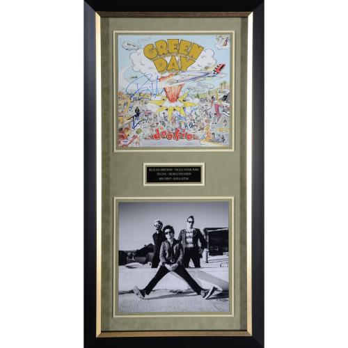 """Greenday Framed Autographed 39"""" x 20"""" Collage with 3 Signatures - PSA/DNA"""