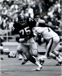 "Joe Greene Pittsburgh Steelers Autographed 16"" x 20"" Follow Play Photograph with HOF 1987 Inscription"