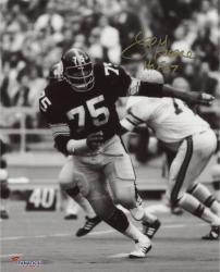 "Joe Greene Pittsburgh Steelers Autographed 8"" x 10"" Follow Play Photograph with HOF 1987 Inscription"
