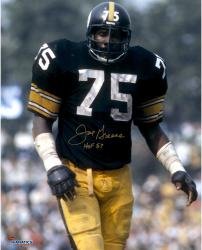 "Joe Greene Pittsburgh Steelers Autographed 16"" x 20"" Close Up Photograph with HOF 87 Inscription"