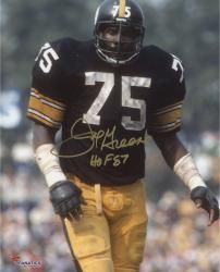 "Joe Greene Pittsburgh Steelers Autographed 8"" x 10"" Close Up Photograph with HOF 1987 Inscription"