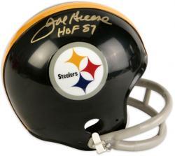 Joe Greene Pittsburgh Steelers Autographed Riddell Throwback Mini Helmet with HOF 87 Inscription
